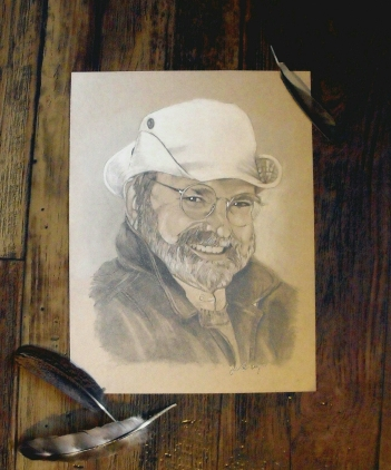"""Man Portrait Drawing 8"""" x 10"""" drawing on toned paper"""