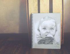 """Baby Drawing 8"""" x 10"""" in sketchbook"""