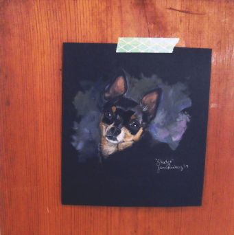 """""""Skeeter"""" 5 inches x 7 inches (size refers to the painted area not the paper size) acrylic painting on toned art paper"""