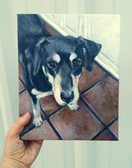 "Dog Portrait 8"" x 10"" painting on canvas"