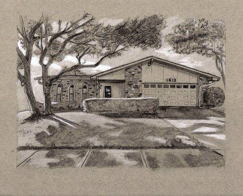 """""""Closing Gift"""" house drawing on toned paper 8"""" x 10"""""""