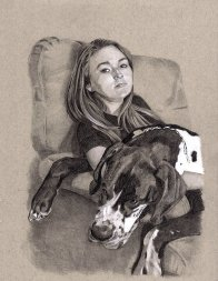 """""""Girl with Dane"""" pre painting drawing 8"""" x 10"""""""