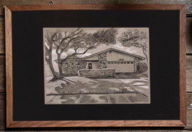 """Closing Gift"" 8"" x 10"" house drawing on toned paper"