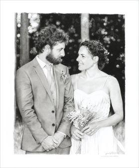 """The Wedding Couple"" Photorealistic Portrait on white paper 11"" x 14"""