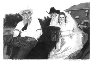 """""""The McEndrees"""" Photorealistic Portrait on white paper 11"""" x 14"""""""